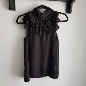 H&M BLACK CHIFFON SLEVELESS TOP.